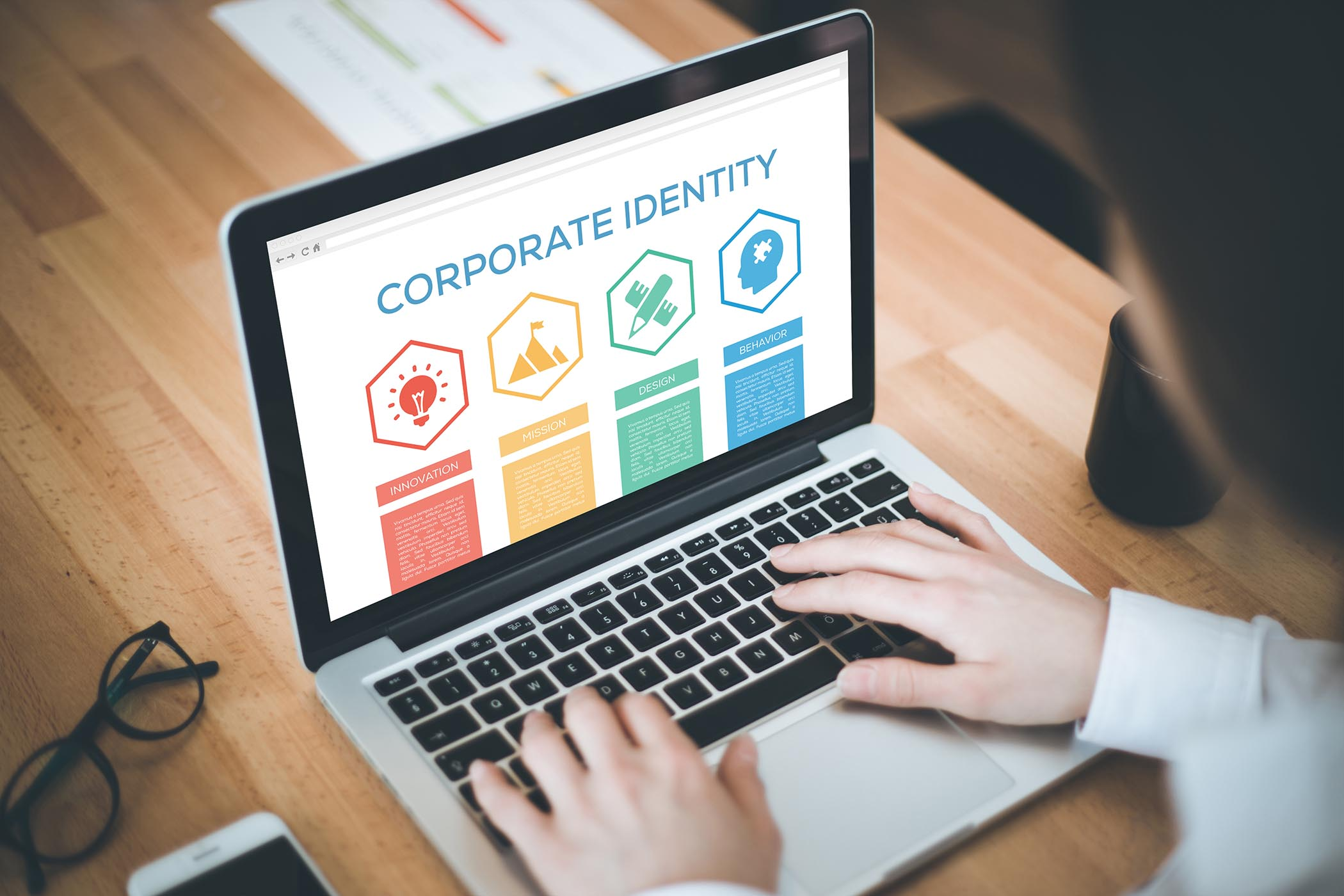 Corporate Identity Innovation Mission Behavior Design Word With Icons